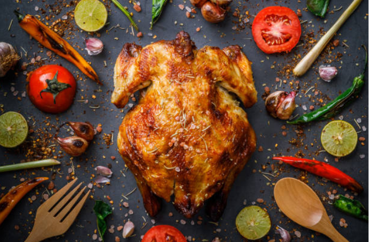 roast turkey with herbs and vegetables