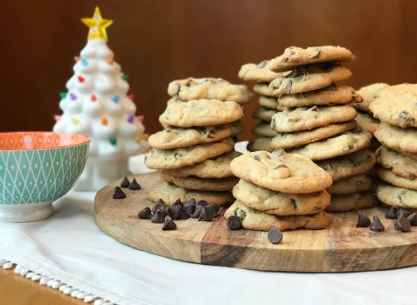 christmas chocolate cookies with mint